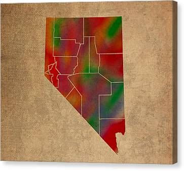 Old Canvas Print - Counties Of Nevada Colorful Vibrant Watercolor State Map On Old Canvas by Design Turnpike