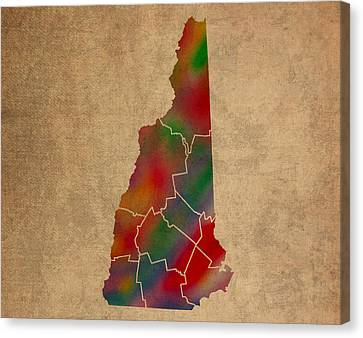 Old Canvas Print - Counties Of New Hampshire Colorful Vibrant Watercolor State Map On Old Canvas by Design Turnpike