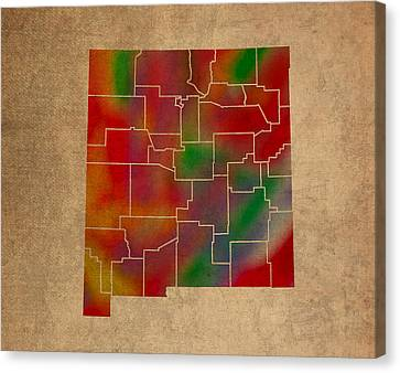 Counties Of New Mexico Colorful Vibrant Watercolor State Map On Old Canvas Canvas Print by Design Turnpike