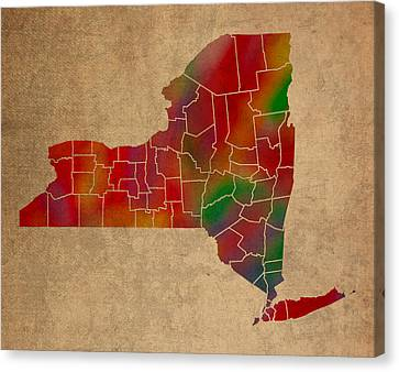 Old Canvas Print - Counties Of New York Colorful Vibrant Watercolor State Map On Old Canvas by Design Turnpike