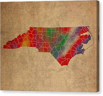 Old Canvas Print - Counties Of North Carolina Colorful Vibrant Watercolor State Map On Old Canvas by Design Turnpike