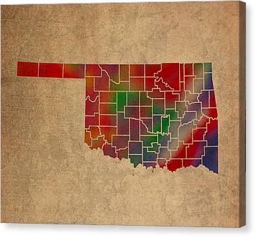 Counties Of Oklahoma Colorful Vibrant Watercolor State Map On Old Canvas Canvas Print by Design Turnpike