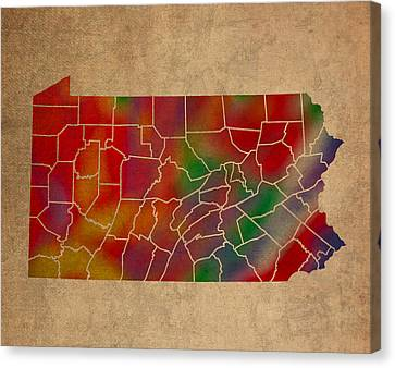 Old Canvas Print - Counties Of Pennsylvania Colorful Vibrant Watercolor State Map On Old Canvas by Design Turnpike