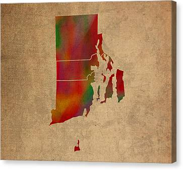 Old Canvas Print - Counties Of Rhode Island Colorful Vibrant Watercolor State Map On Old Canvas by Design Turnpike