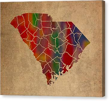 Counties Of South Carolina Colorful Vibrant Watercolor State Map On Old Canvas Canvas Print by Design Turnpike