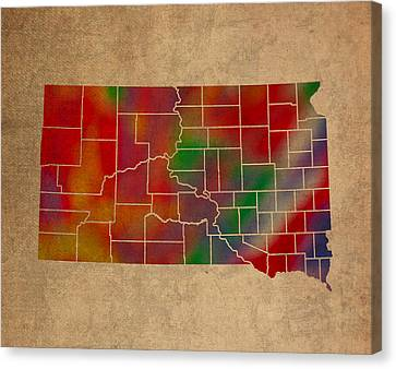 Counties Of South Dakota Colorful Vibrant Watercolor State Map On Old Canvas Canvas Print