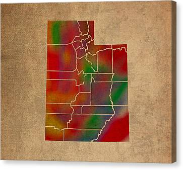 Old Canvas Print - Counties Of Utah Colorful Vibrant Watercolor State Map On Old Canvas by Design Turnpike