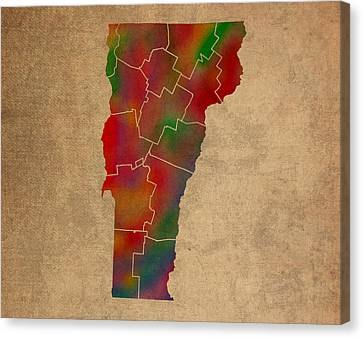 Old Canvas Print - Counties Of Vermont Colorful Vibrant Watercolor State Map On Old Canvas by Design Turnpike