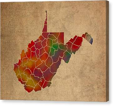 Counties Of West Virginia Colorful Vibrant Watercolor State Map On Old Canvas Canvas Print by Design Turnpike