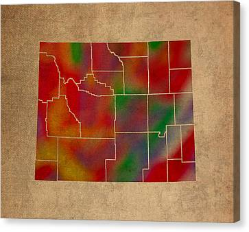 Old Canvas Print - Counties Of Wyoming Colorful Vibrant Watercolor State Map On Old Canvas by Design Turnpike
