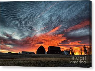 Country Barns Sunrise Canvas Print
