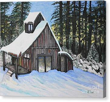Winter In The Country Canvas Print - Country Cabin by Reb Frost