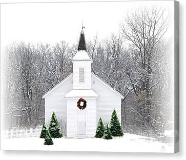 White Pines Canvas Print - Country Christmas Church by Carol Sweetwood