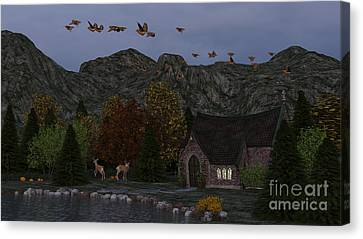 Country Church Autumn At Twilight Canvas Print by Methune Hively