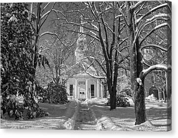 Country Church In Winter Maine Bandw Photo Canvas Print by Keith Webber Jr