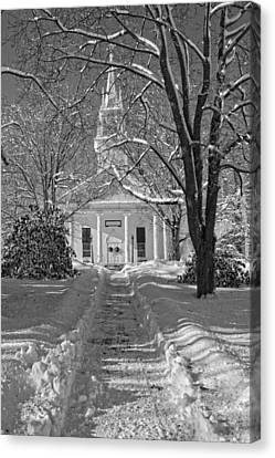 Country Church In Winter Maine Black And White Photo Canvas Print by Keith Webber Jr
