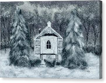 Canvas Print featuring the digital art Country Church On A Snowy Night by Lois Bryan
