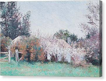 Country Cottage In Spring Time Canvas Print by Jan Matson
