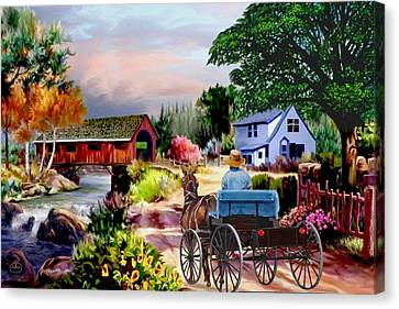 Country Covered Bridge V2 Canvas Print by Ron Chambers
