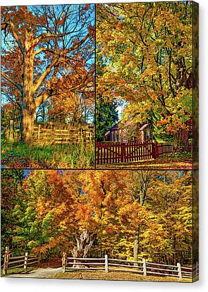 One Room School Houses Canvas Print - Country Fences Collage - Paint by Steve Harrington