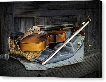 Country Fiddle Stringed Instrument With Bow Canvas Print by Randall Nyhof