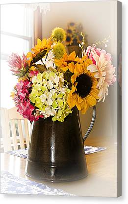 Country Flower Bouquet Canvas Print by Trudy Wilkerson