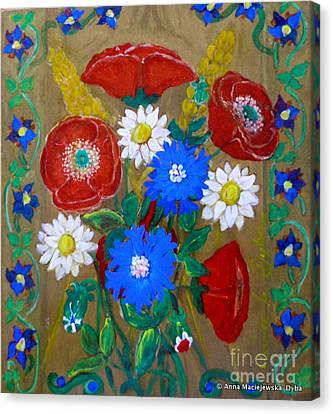 Country Flowers Canvas Print by Anna Folkartanna Maciejewska-Dyba