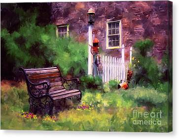 Lamp Post Canvas Print - Country Garden by Lois Bryan