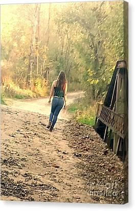Country Girl Walking  Canvas Print by Scott D Van Osdol