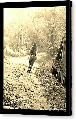 Country Girl Walking - Sepia With Border Canvas Print by Scott D Van Osdol