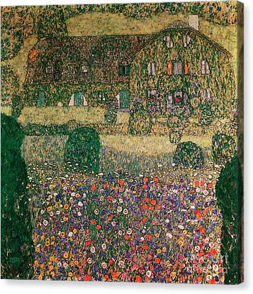 Country House By The Attersee Canvas Print by Gustav Klimt