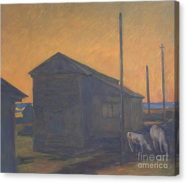 Country Landscape With Calves. Etude Canvas Print by Andrey Soldatenko