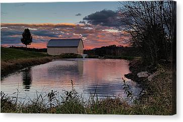 Canvas Print featuring the photograph Country Living Sunset by Lara Ellis
