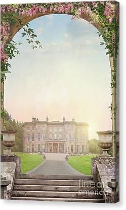 Country Mansion At Sunset Canvas Print by Lee Avison