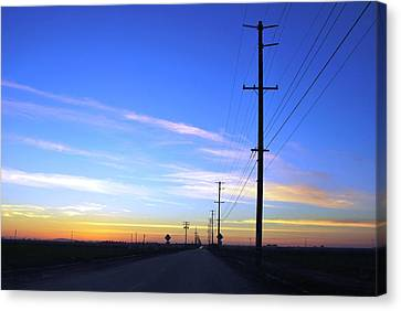 Canvas Print featuring the photograph Country Open Road Sunset - Blue Sky by Matt Harang