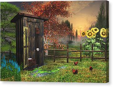 Country Outhouse Canvas Print by Mary Almond