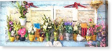 Country Porch Flowers Canvas Print by Gary Guthrie