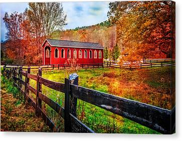 Country Red Canvas Print by Debra and Dave Vanderlaan