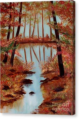 Canvas Print featuring the painting Country Reflections by Leslie Allen