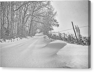 Country Road Blizzard  Canvas Print by SharaLee Art