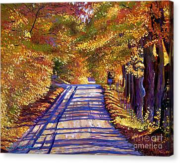 Autumn Leaf Canvas Print - Country Road by David Lloyd Glover