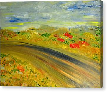 Canvas Print featuring the painting Country Road by Evelina Popilian