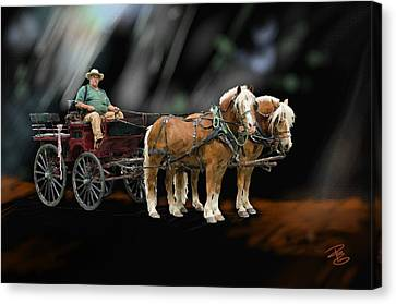 Country Road Horse And Wagon Canvas Print