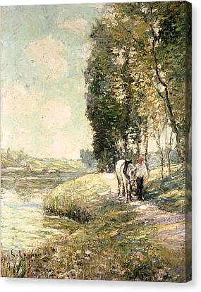 Country Road To Spuyten Canvas Print by Ernest Lawson