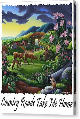 Country Roads Take Me Home - Deer Chipmunk In High Meadow Appalachian Country Landscape Canvas Print by Walt Curlee