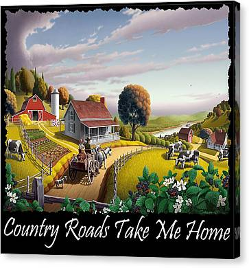 Country Roads Take Me Home T Shirt - Appalachian Blackberry Patch Country Farm Landscape 2 Canvas Print by Walt Curlee