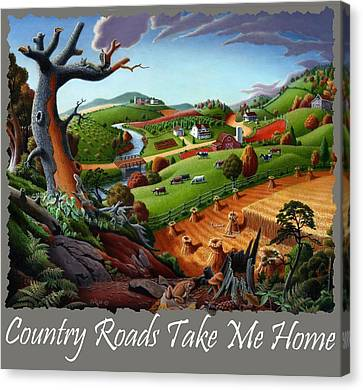 Country Roads Take Me Home T Shirt - Autumn Wheat Harvest 2 Country Farm Landscape Canvas Print by Walt Curlee