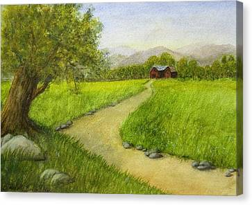 Country Scene - Barn In The Distance Canvas Print