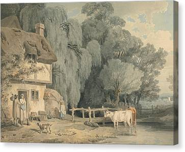 Cottages Canvas Print - Country Scene - Figures By A Cottage Door And Cattle In A Stream by Francis Wheatley