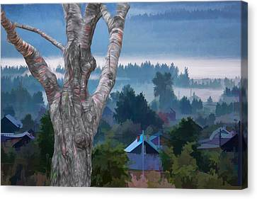 Country Side Morning Mist Canvas Print
